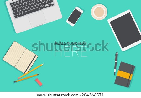 Set of Flat vector design illustration of modern business office and workspace. Top view of desk background with laptop, digital devices, office objects with notepad - stock vector