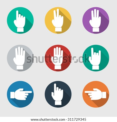 Set of flat vector hands make number,Vector Illustration - stock vector