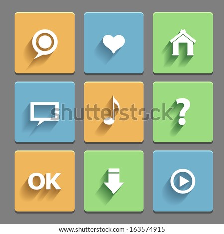 Set of flat vector icons - stock vector