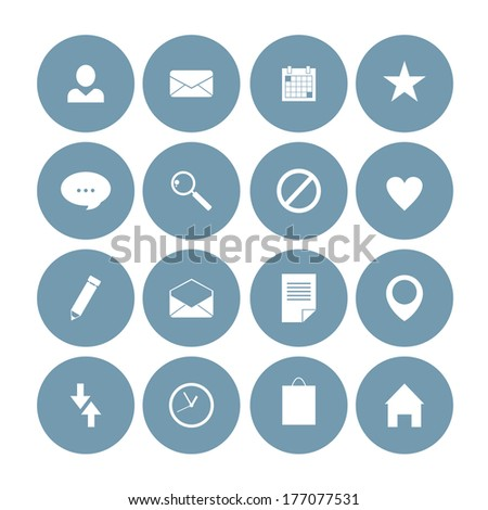 set of flat vector icons for mobile and web