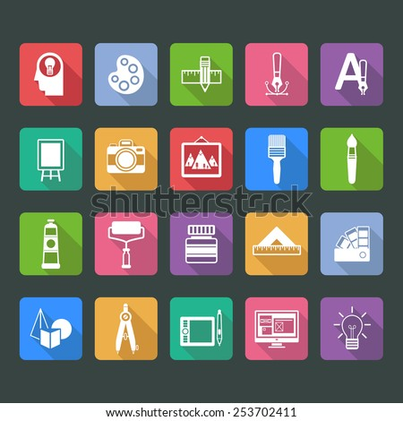 Set of flat vector icons of artist and painter - stock vector