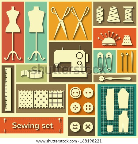 Set of flat vector icons with sewing elements - stock vector