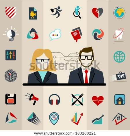 Set of flat vector logo icons design illustration financial service items, web and technology development, business management symbol, S E O and Social media marketing. Editable For Your Design.   - stock vector