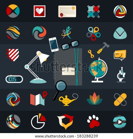 Set of flat vector logo icons design illustration financial service items, web and technology development, business management symbol, S E O and Social media marketing.Editable For Your Design.   - stock vector