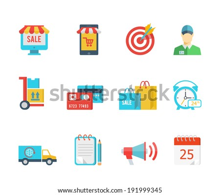 Set of flat vector purchase and delivery icons with a sale sign  store  trolley  salesman  delivery  credit card  bags  24-hour  van or truck  delivery notice  megaphone and calendar - stock vector