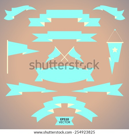 Set of flat vector ribbons in pastel colors. Vintage labels.  - stock vector