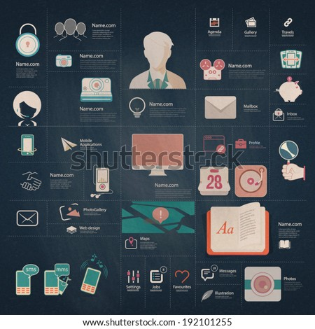 Set of flat vintage infographic elements with icons in chalkboard style for website, mobile and print templates. - stock vector