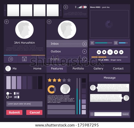 Set of flat web elements, icons and buttons for mobile app and web design - stock vector