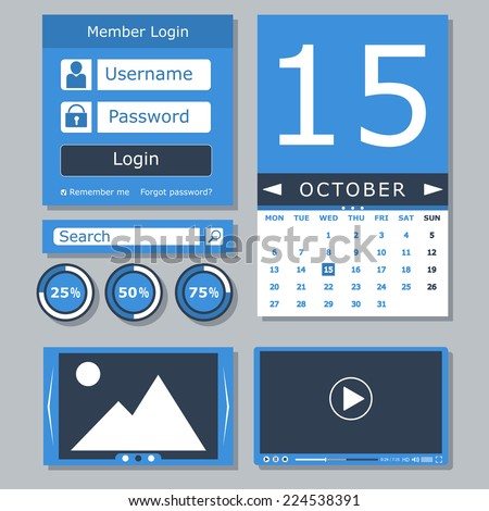 Set of flat web elements, icons and buttons for mobile app and web design. Vector illustrations - stock vector