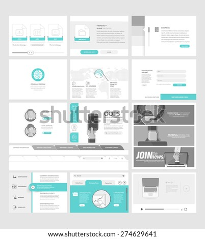 Set of flat website template elements for business company with concept icons and banners - stock vector