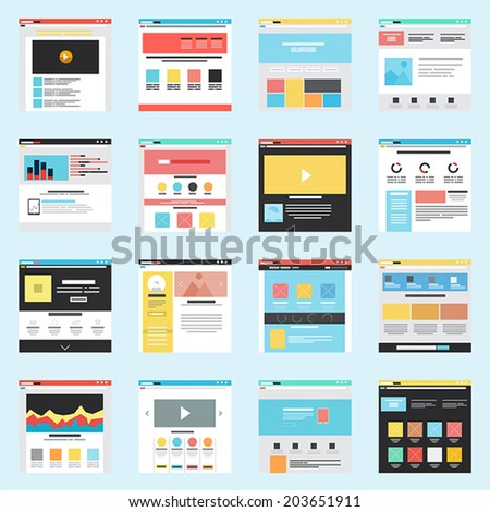 Set of Flat Website Templates. Navigation Elements and Icons. Vector - stock vector