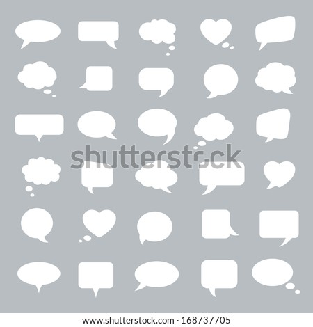 Set of flat white bubbles for speech on a gray background. Elements for design.  - stock vector