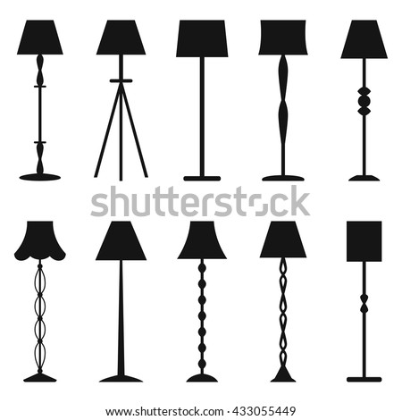 Set of floor lamp silhouettes, vector illustration - stock vector