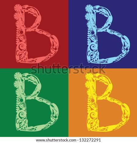 Set of Floral Alphabet letter B different colors - stock vector