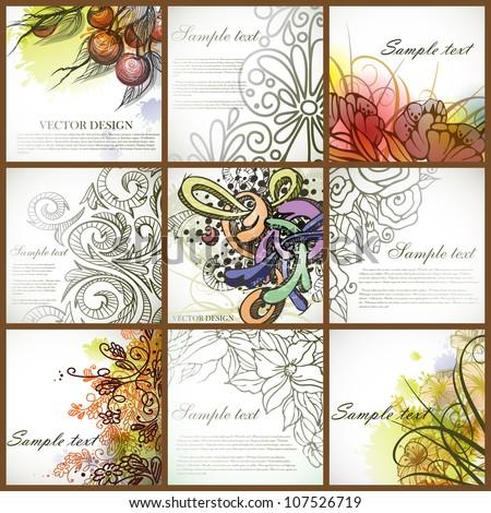 Set of floral backgrounds. Vector illustration. Eps 10. - stock vector