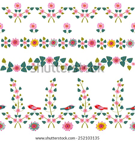set of floral borders - stock vector