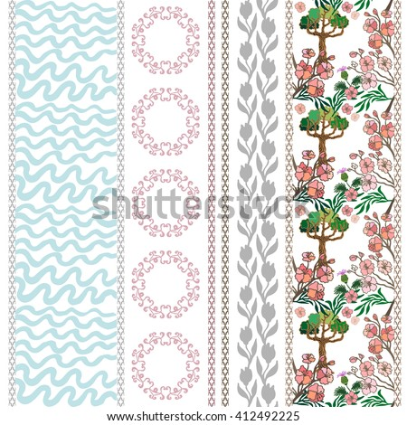 Set of floral borders with floral motifs. Hand drawn seamless pine trees pattern, sea waves print, blooming tulips, geometrical ornament. Vintage textile collection. Blue, pink shadows on white.  - stock vector