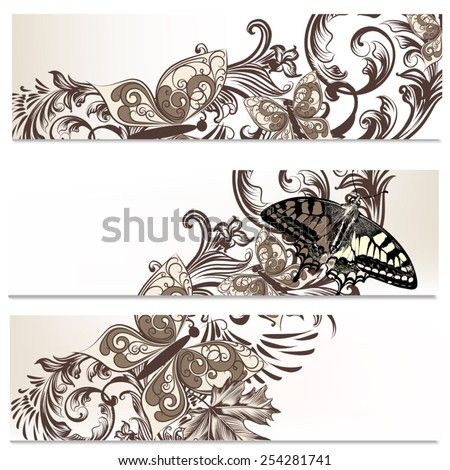 Set of floral brochures with butterflies for design - stock vector