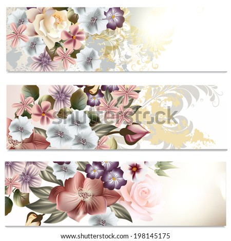 Set of floral brochures with flowers for design - stock vector