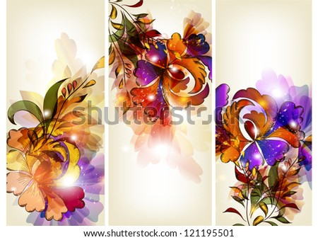 Set of floral cards - stock vector