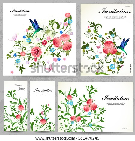 Set of floral cards for your design - stock vector