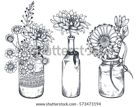 Set Floral Compositions Bouquets Hand Drawn Stock Vector