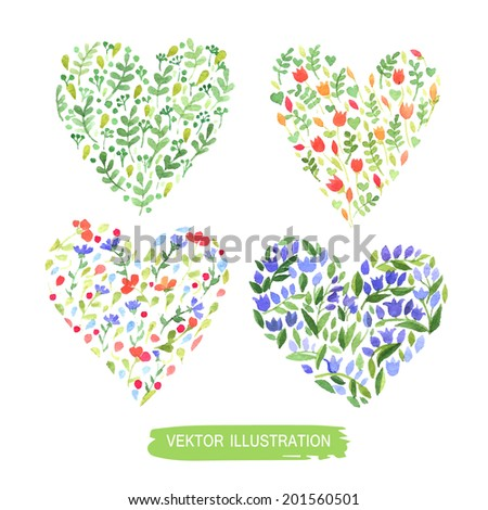 Set of floral compositions. Hearts and flowers. Watercolor. Vector - stock vector