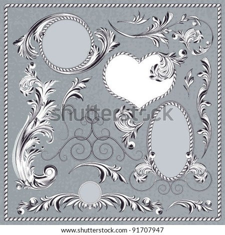 Set of Floral Decor Elements, Vector Illustration - stock vector