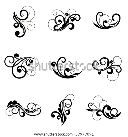 Set of floral decorations for design. Jpeg version also available in gallery