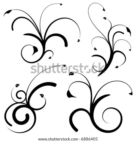 Set of 4 floral design elements