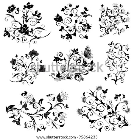 set of floral design with butterflies - stock vector