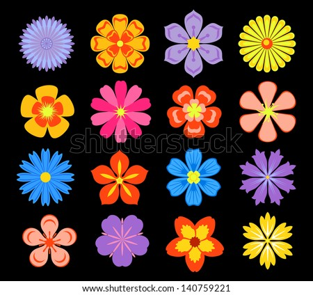 Set of floral elements and blossoms isolated on background. Jpeg (bitmap) version also available in gallery - stock vector
