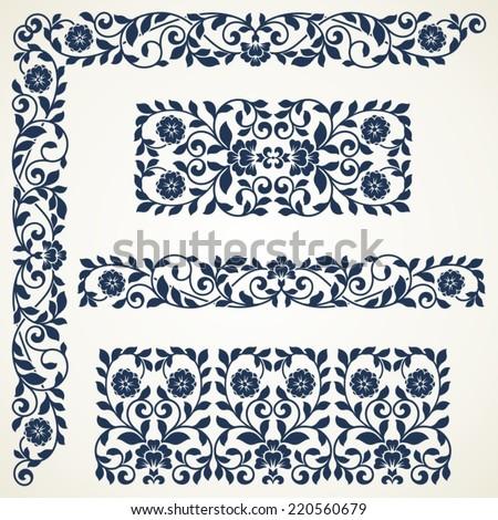 Set of floral elements for design. Set of vintage ornate borders. - stock vector
