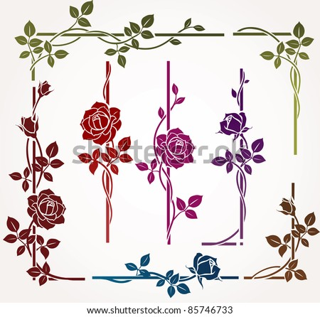 Set of floral elements for frames - stock vector