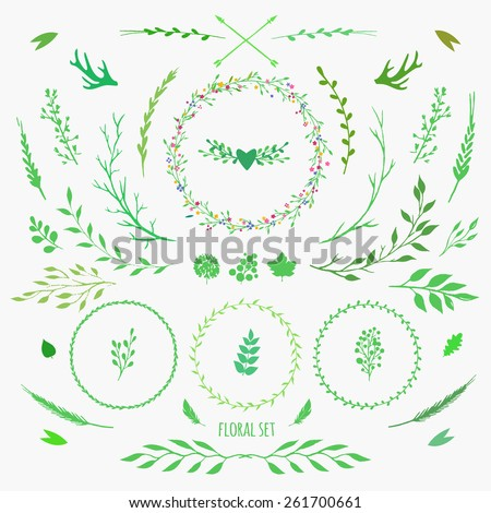 set of floral elements for spring design - stock vector