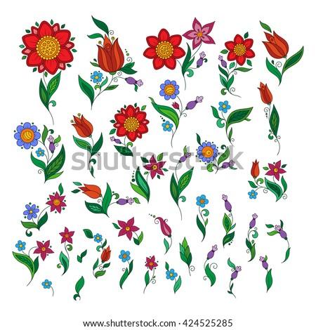 Set of floral elements. Spring elements. Floral doodles element - stock vector