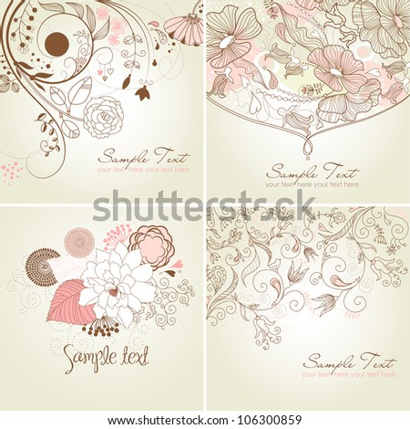 Set of floral greeting cards in pink shades - stock vector
