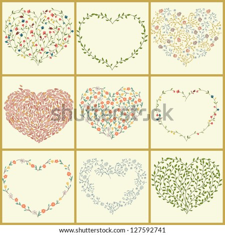 Set of floral hearts - stock vector