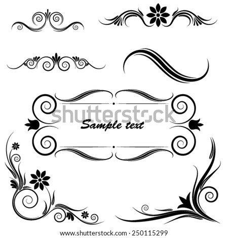 Set of floral ornaments. vector - stock vector