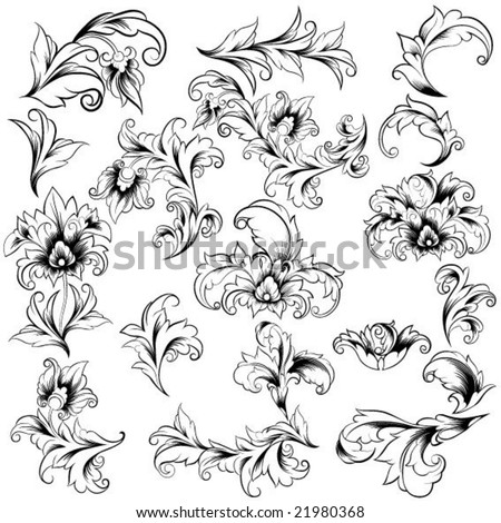 set of floral ornate elements - stock vector