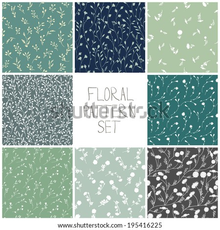 Set of floral patterns. Vector backgrounds with flowers. - stock vector