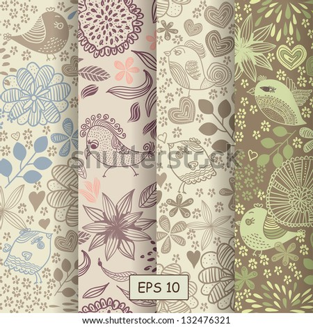 set of floral patterns with birds. eps10 - stock vector