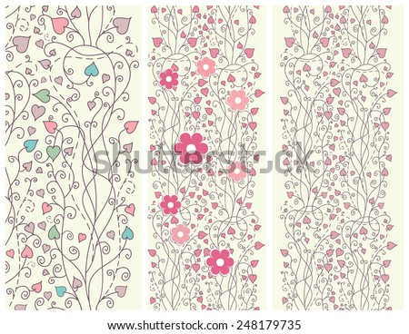 Set of floral pink backgrounds for design, invitation, birthday, kid, baby greeting card. Vector illustration.  - stock vector