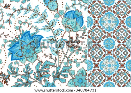 Set of floral seamless background and border with fantasy flowers, blossom and leave. Vector ornamental pattern set. - stock vector