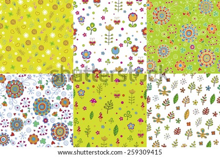 Set of floral seamless backgrounds. Floral cute seamless vector patterns. Can be used for wallpaper, pattern fills,  background, surface textures, textile. Green. Spring. Colorfull. Patterns for kids. - stock vector