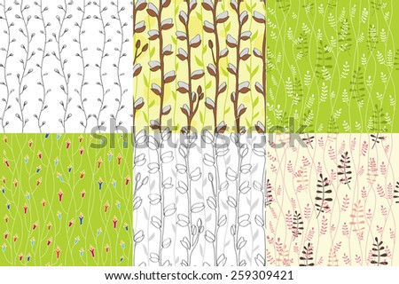 Set of floral seamless backgrounds. Floral easter seamless pattern. Can be used for wallpaper, pattern fills, web page background, surface textures, textile.  Contour pattern. - stock vector