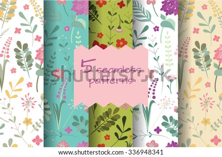 Set of floral seamless patterns. Editable Vector illustration of a cute romantic flowers and leaves. - stock vector