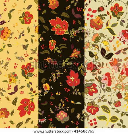 Set of floral seamless patterns. Folk boho style background with flowers. Vector illustration. - stock vector