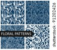set of floral seamless patterns - vector illustration - stock vector