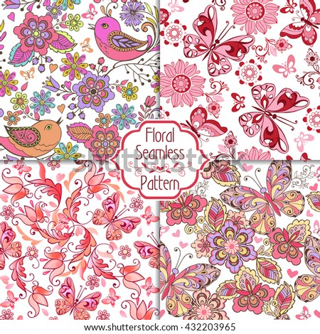 Set of floral seamless pink patterns with birds, butterflies and hearts. Vintage flowers seamless ornament. Decorative ornament backdrop for fabric, textile, wrapping paper. - stock vector